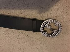 Authentic mens Gucci Double GG Buckle Belt Size 36 To 38 Waist - USED Black