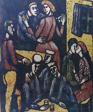 Seppo Mattinen*1930, Im Lokal, Farbholzschnitt, Probeabzug, datiert 1959