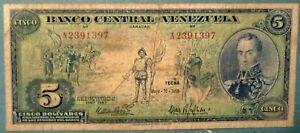 VENEZUELA 5 BOLIVARES  SCARCE COMMEMORATIVE NOTE ISSUED 10.05. 1966, P 49
