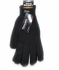 THINSULATE QUALITY UNISEX BLACK THERMAL GLOVES WINTER WARM ONE SIZE FAST POST