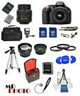 Nikon D5200 Digital SLR Camera Black +3 Lens: 18-55mm VR Lens + 32GB Bundle NEW