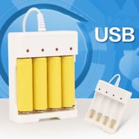 White AA/AAA Rechargeable Battery Smart Charger Universal USB 4-slot charging