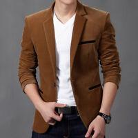 fashion Men's Slim Fit Formal Casual One Button Suit Corduroy Blazer Coat jacket