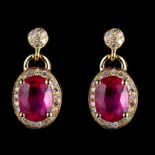 Vintage 14k Yellow Gold Oval Blood Ruby Natural Diamond Charm Dangle Earrings