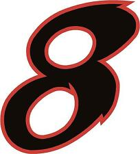 "x1 8"" Race Number vinyl stickers (MORE in EBAY SHOP) Style 2 Number 8 Black/Red"
