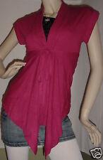 Fuchsia Tie Cap Slv Shrug/Cover-Up Drape Scarf Tunic Cardigan S