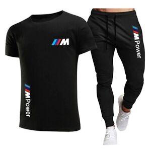 2021 Summer Men's BMW Motorsport M-Power Jogging Casual Top T-Shirt+Pant 2 Set.