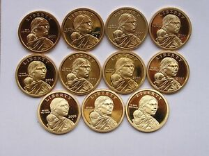 2000 S ----->>>2010 S   (11) Coin  Sacagawea Native American Dollar Proof Lot.