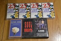 Job Lot Cassette Tapes - 25 Soul Hits, Soul Greats, Alabama, Elton John