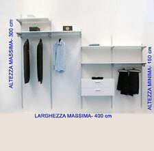 Cabina armadio per mansarda su misura con ripiani e tubi appenderia. 100% Italy