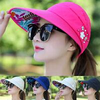 Womens Lady Visor Hat Summer Sun Beach Ladies Foldable Roll Up Wide Brim Cap