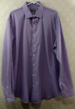 Kenneth Cole Mens Purple Dress Shirt Size 17.5 (36-37) Regular Fit Wrinkle Free