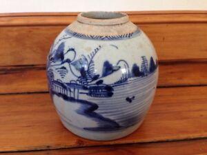 """Vintage Antique Chinese Stoneware Qing Ming Blue White Ginger Jar Vase Pot 6"""""""