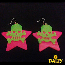 FUNKY STAR AND SKULL LUMNIOUS DROP DOWN DANGLE EARRINGS PINK EARRINGS GREEN