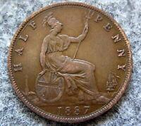 GREAT BRITAIN QUEEN VICTORIA 1887 1/2 HALF PENNY HALFPENNY