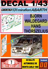 Calca 1//43 Fiat 131 Abarth B Thorszelius Rally Montecarlo 1980 Waldegard H