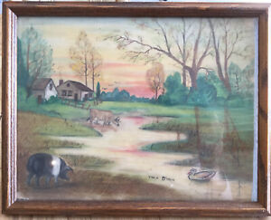 "Viola O'Hair Miller, Glass Framed Original Artwork, 12x10"" Chalk? 1936 Indiana"