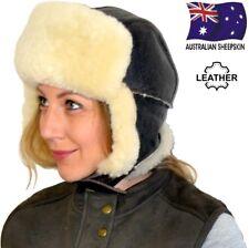 Leather Earflap Bomber Hat Sheepskin Ski Aviator Trapper Fur Wool Ear Flap Cap