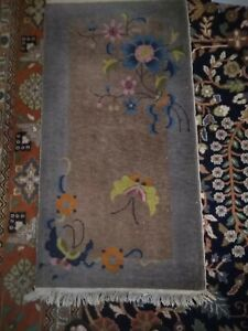 ANTIQUE 2 X 4 WALTER NICHOLS ART DECO CHINESE RUG, BUTTERFLY