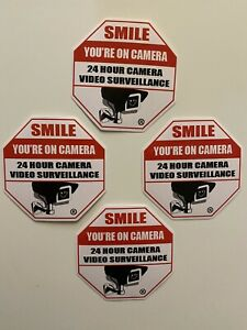 4 SMILE YOUR ON STORE SECURITY CCTV VIDEO CAMERA OUTDOOR WARNING STICKER RING LA