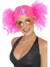 Pink 80's Bunches Wig Adult Womens Smiffys Fancy Dress Costume