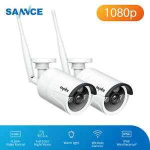 SANNCE 2pcs 2.0MP Wireless WIFI IP Camera Home Outdoor Security IR Night Vision