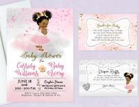 Baby Shower Invitations Girl Princess Tutu Diaper Raffle Book Cards Insert Qty20