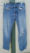 """New listing Levis 501'S Faded Blue Yellow Stitch Button-Fly Denim Jeans Size 30"""" X 31"""" L"""