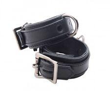 STRICT LEATHER CUFFS LUXURY wrist hand restraints locking buckle Premium BLACK