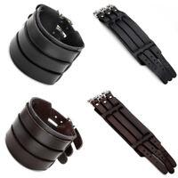 Punk Biker 3 Layer Real Cow Leather Belt Cuff Bracelet Men Wristband Wrap Bangle
