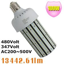 480Volt LED Corn Cob 100W Replace 400Watt MH Street Area Light 347V 5000K E39