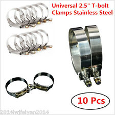 """10x 2.5"""" 64-74mm  Silicone Turbo Pipe Hose Coupler T-bolt Clamps Stainless Steel"""