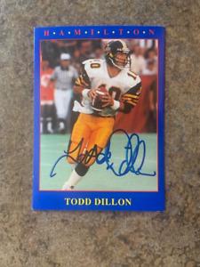 signed in person  TODD DILLON  Hamilton Tiger Cats    JOGO # 23  1990