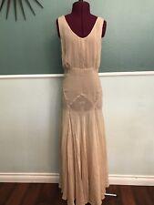 1930's Tan Sheer Bia Cut Sleeveless Gown XS 24 Waist