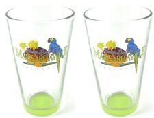 Margaritaville Set of 2 Pint Glasses with Lime Green Bottom Barware Collectible