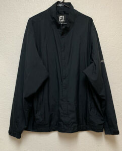 FJ Footjoy Dryjoys Mens Full Zip Black Windbreaker Rain Golf Jacket Sz XXL