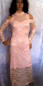 Voyelles Kleid Spitze Rosa Abendkleid Maxikleid schulterfrei Gr. S/36
