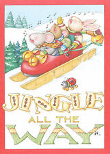 Mary Engelbreit-Jingle All The Way Red Mary Jane Shoe Sled-Christmas Card-New!