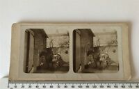 Groom Tending a Horse Home Made Antique Sepia Victorian Stereoview Photograph