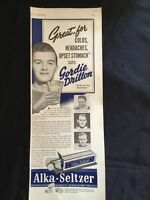 Vintage Alka-Seltzer Print Ad - Featuring Gordie Drillon , Maple Leafs - 1940