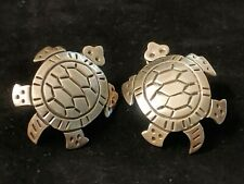 Vintage Signed Mexico Tr-172 925 Sterling Silver Turtle Tortoise Earrings