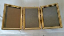 "Vintage Gold Color Metal Triple Picture Frame 3.5"" x 2.5"""