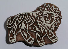 Lion 7cm Indian Hand Carved Wooden Printing Block Stamp