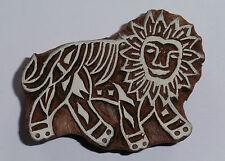 León 7cm Indio Tallado A Mano Madera Impresión Bloque Sello