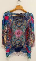 MUSHKA by SIENNA ROSE Tunic Top Blouse Sz L Multicolor Lace Trim Long Sleeve