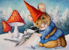 ACEO Limited Edition Print Winter Field Mouse Gnome Chickadee Bird by J. Weiner