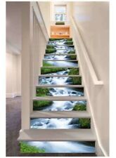 13PCS 3D Green Grass Streams Self-adhesive Stairs Risers Stickers Mural Decal