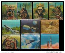 BHUTAN 3-D Plastic Surfaced 10 Different Stamps-Masks, Space, Etc.