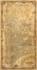 MAP OF NEW YORK CITY, 1852 Vintage Map Reproduction Rolled CANVAS PRINT 17x28 in