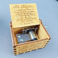 Wooden Music Box Mom Dad Daughter Son -You Are My Sunshine Engraved Toy Gift New